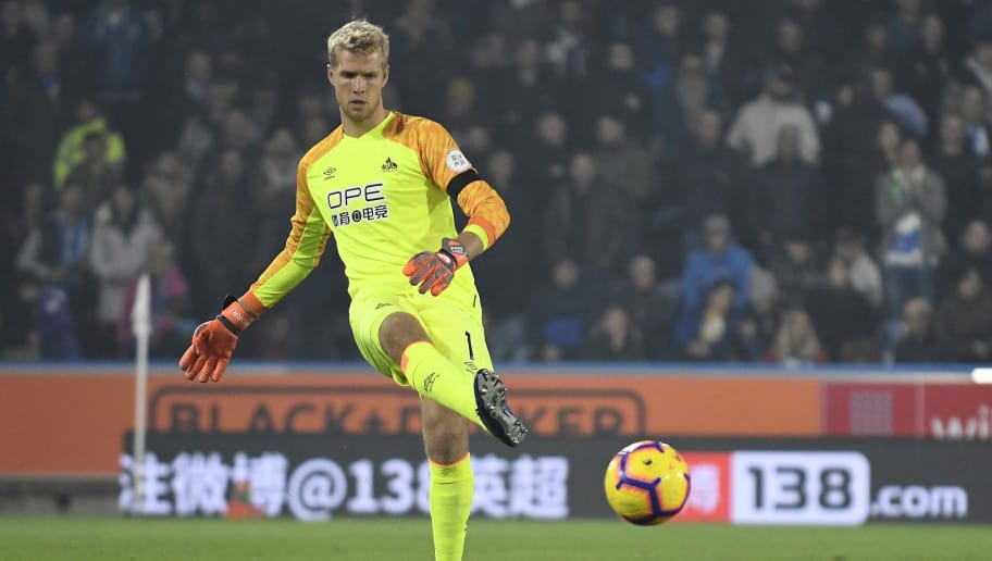 HUDDERSFIELD, ENGLAND - NOVEMBER 05: Jonas Lossl of Huddersfield Town plays the ball during the Premier League match between Huddersfield Town and Fulham FC at John Smith's Stadium on November 05, 2018 in Huddersfield, United Kingdom. (Photo by Huddersfield FC/Getty Images)