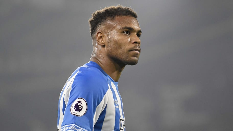 HUDDERSFIELD, ENGLAND - NOVEMBER 05: Steve Mounie of Huddersfield Town looks on during the Premier League match between Huddersfield Town and Fulham FC at John Smith's Stadium on November 05, 2018 in Huddersfield, United Kingdom. (Photo by Huddersfield FC/Getty Images)