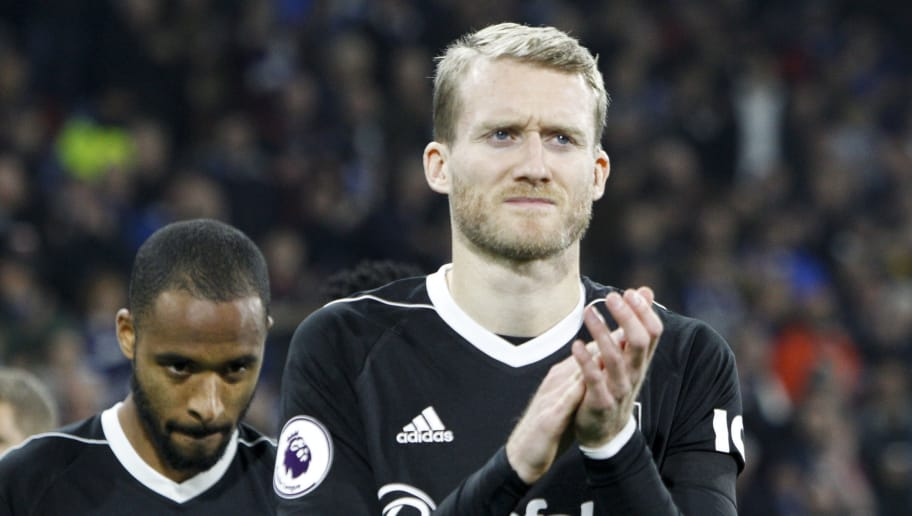 HUDDERSFIELD, ENGLAND - NOVEMBER 05: André Schürrle of Fulham FC gestures during the Premier League match between Huddersfield Town and Fulham FC at John Smith's Stadium on November 5, 2018 in Huddersfield, United Kingdom. (Photo by Ben Early/Getty Images)