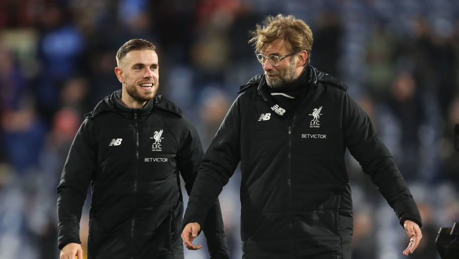 HUDDERSFIELD, ENGLAND - JANUARY 30: Jordan Henderson of Liverpool and /lm at full time during the Premier League match between Huddersfield Town and Liverpool at John Smith's Stadium on January 30, 2018 in Huddersfield, England. (Photo by Robbie Jay Barratt - AMA/Getty Images)