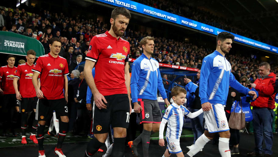 HUDDERSFIELD, ENGLAND - FEBRUARY 17:  Michael Carrick of Manchester United during the The Emirates FA Cup Fifth Round between Huddersfield Town v Manchester United on February 17, 2018 in Huddersfield, United Kingdom.  (Photo by Clive Brunskill/Getty Images)