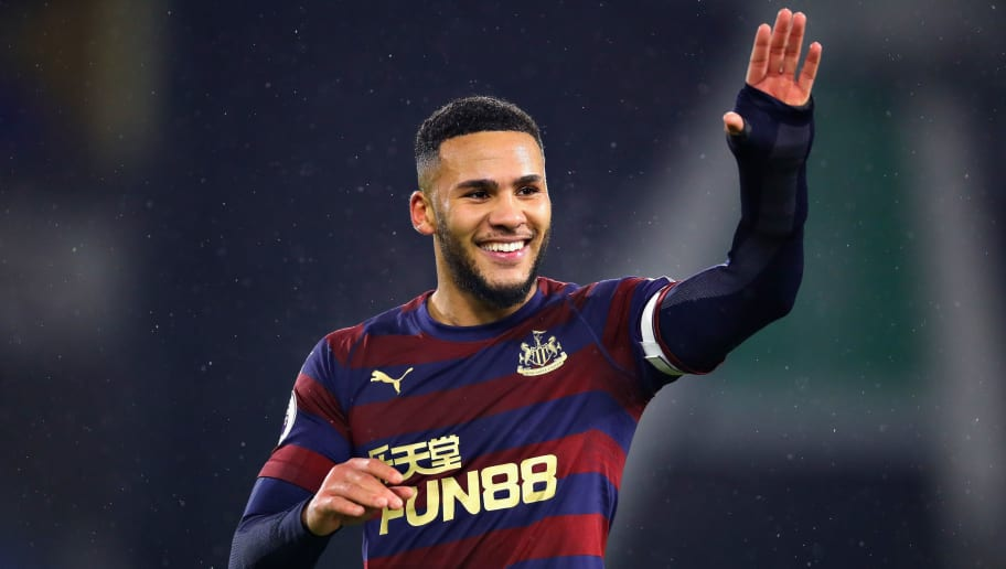 HUDDERSFIELD, ENGLAND - DECEMBER 15: Jamaal Lascelles of Newcastle United waves to the crowd after the Premier League match between Huddersfield Town and Newcastle United at John Smith's Stadium on December 15, 2018 in Huddersfield, United Kingdom.  (Photo by Chris Brunskill/Fantasista/Getty Images)