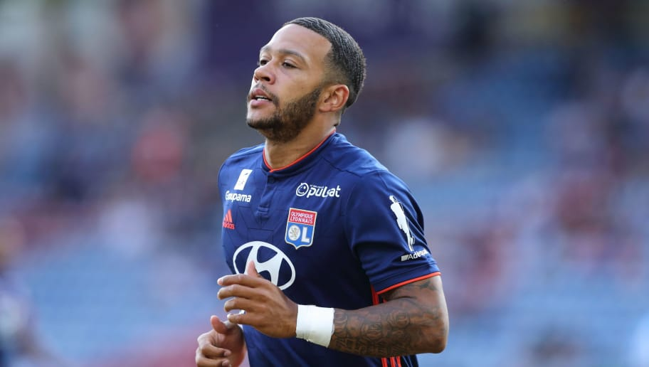 HUDDERSFIELD, ENGLAND - JULY 25: Memphis Depay of Olympique Lyonnais during the pre-season friendly between Huddersfield Town and Olympique Lyonnais at John Smith's Stadium on July 25, 2018 in Huddersfield, England. (Photo by James Williamson - AMA/Getty Images)