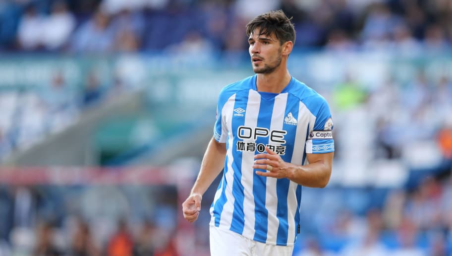 HUDDERSFIELD, ENGLAND - JULY 25: Christopher Schindler of Huddersfield Town during the pre-season friendly between Huddersfield Town and Olympique Lyonnais at John Smith's Stadium on July 25, 2018 in Huddersfield, England. (Photo by James Williamson - AMA/Getty Images)