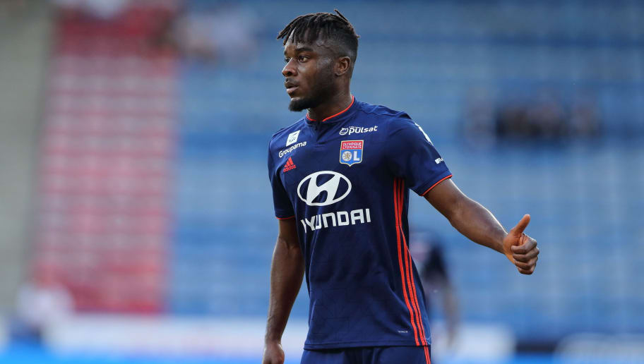 HUDDERSFIELD, ENGLAND - JULY 25: Maxwel Cornet of Olympique Lyonnais during the pre-season friendly between Huddersfield Town and Olympique Lyonnais at John Smith's Stadium on July 25, 2018 in Huddersfield, England. (Photo by James Williamson - AMA/Getty Images)