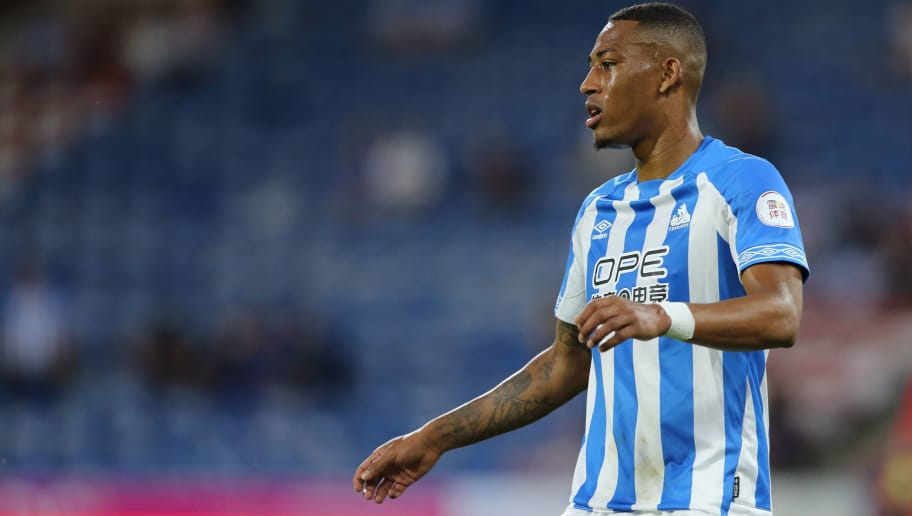 HUDDERSFIELD, ENGLAND - JULY 25: Rajiv Van La Parra of Huddersfield Town during the pre-season friendly between Huddersfield Town and Olympique Lyonnais at John Smith's Stadium on July 25, 2018 in Huddersfield, England. (Photo by James Williamson - AMA/Getty Images)