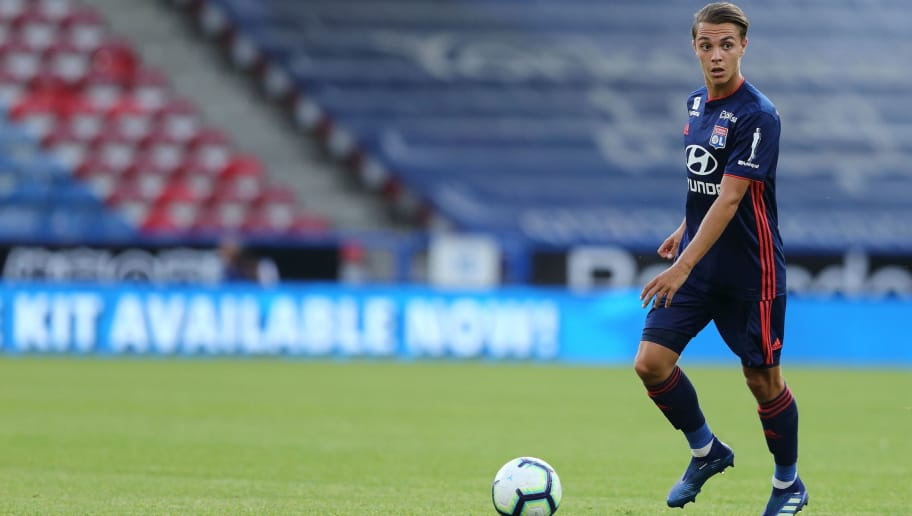 HUDDERSFIELD, ENGLAND - JULY 25: Maxence Caqueret of Olympique Lyonnais during the pre-season friendly between Huddersfield Town and Olympique Lyonnais at John Smith's Stadium on July 25, 2018 in Huddersfield, England. (Photo by James Williamson - AMA/Getty Images)