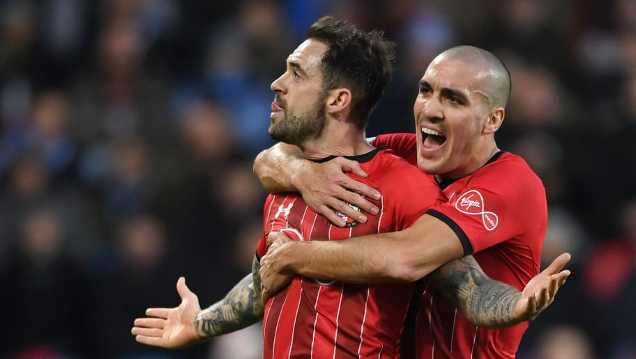 HUDDERSFIELD, ENGLAND - DECEMBER 22:  Danny Ings of Southampton celebrates after scoring his team's first goal with Oriol Romeu of Southampton during the Premier League match between Huddersfield Town and Southampton FC at John Smith's Stadium on December 22, 2018 in Huddersfield, United Kingdom.  (Photo by Gareth Copley/Getty Images)