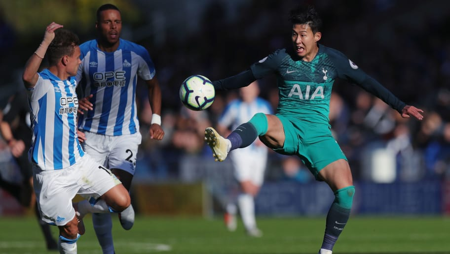 HUDDERSFIELD, ENGLAND - SEPTEMBER 29:  Heung-Min Son of Tottenham Hotspur during the Premier League match between Huddersfield Town and Tottenham Hotspur at John Smith's Stadium on September 29, 2018 in Huddersfield, United Kingdom.  (Photo by Alex Morton/Getty Images)