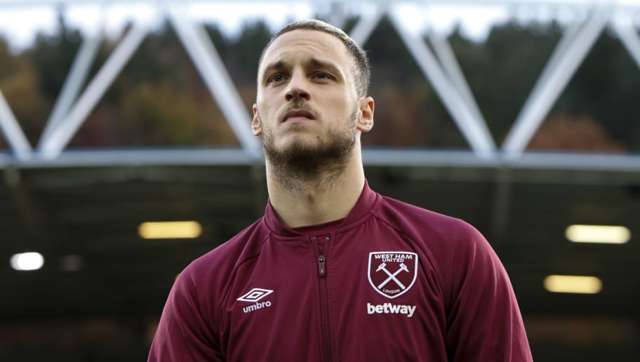 HUDDERSFIELD, ENGLAND - NOVEMBER 10: Marko Arnautovic of West Ham United during the Premier League match between Huddersfield Town and West Ham United at John Smith's Stadium on November 10, 2018 in Huddersfield, United Kingdom. (Photo by William Early/Getty Images)