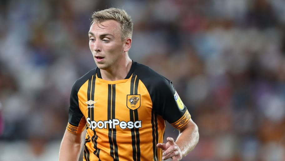 HULL, ENGLAND - AUGUST 06: Jarrod Bowen of Hull City during the Sky Bet Championship match between Hull City and Aston Villa at KCOM Stadium on August 6, 2018 in Hull, England. (Photo by James Williamson - AMA/Getty Images)