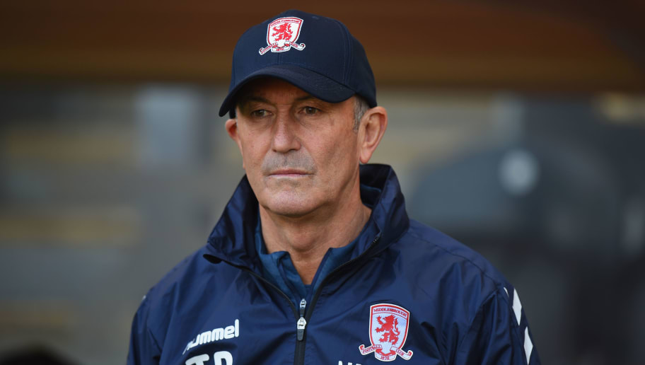 HULL, ENGLAND - SEPTEMBER 29:  Middlesbrough Manager Tony Pulis during the Sky Bet Championship match between Hull City and Middlesbrough at KCOM Stadium on September 29, 2018 in Hull, England.  (Photo by Tony Marshall/Getty Images)
