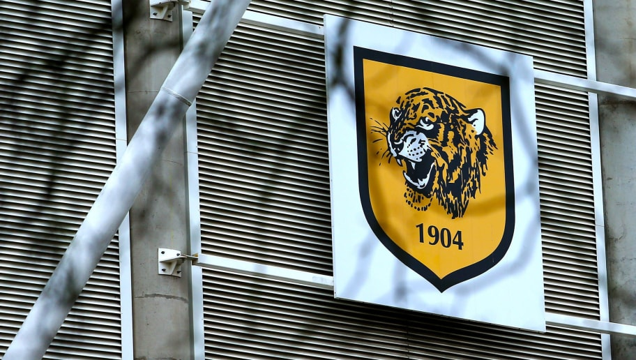 HULL, ENGLAND - MARCH 10: Hull City's logo during the Sky Bet Championship match between Hull City and Norwich City at KCOM Stadium on March 10, 2018 in Hull, England. (Photo by Ashley Allen/Getty Images)
