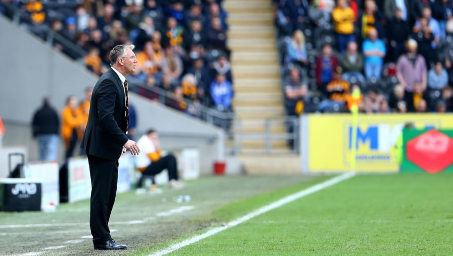 HULL, ENGLAND - APRIL 14: Nigel Adkins Manager of Hull City during the Sky Bet Championship match between Hull City and Sheffield Wednesday at KCOM Stadium on April 14, 2018 in Hull, England. (Photo by Ashley Allen/Getty Images)