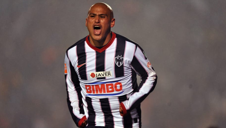 Humberto Suazo of Monterrey celebrates his third goal against Cruz Azul during their first round finals football match of the Mexican League Tournament in Monterrey, Mexico, on December 10, 2009. AFP PHOTO/Alfredo ESTRELLA (Photo credit should read ALFREDO ESTRELLA/AFP/Getty Images)
