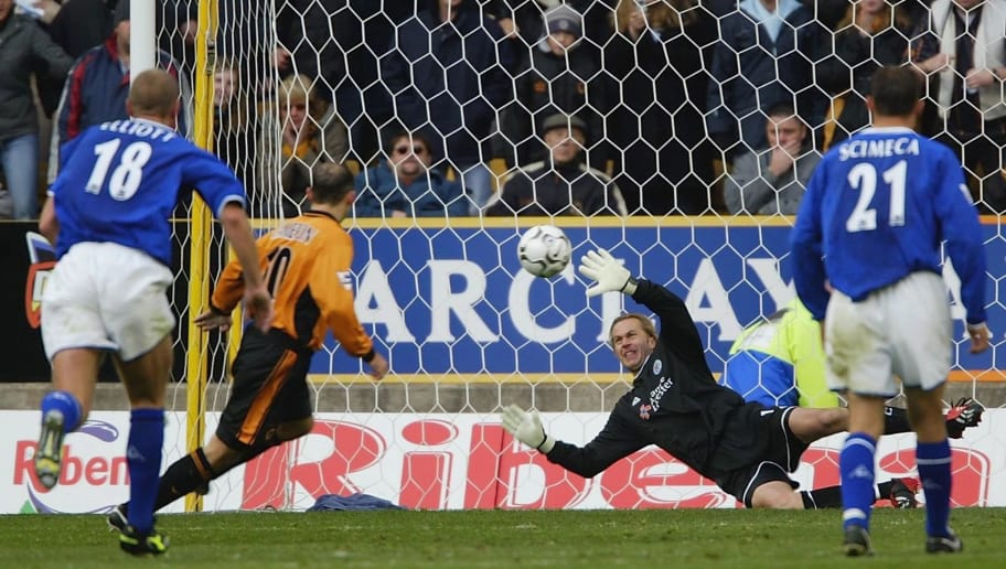 WOLVERHAMPTON, ENGLAND - OCTOBER 25:  Ian Walker the Leicester goalkeeper fails to keep out a penalty by Colin Cameron of Wolves during the FA Barclaycard Premiership match between Wolverhampton Wanderers and Leicester City at Molineux Stadium, on October 25, 2003 in Wolverhampton, England. (Photo by Tom Shaw/Getty Images)