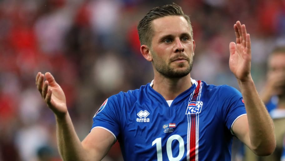 PARIS, FRANCE - JUNE 22:  Gylfi Sigurdsson of Iceland celebrates at the final whistle during the UEFA EURO 2016 Group F match between Iceland and Austria at Stade de France on June 22, 2016 in Paris, France.  (Photo by Stanley Chou/Getty Images)