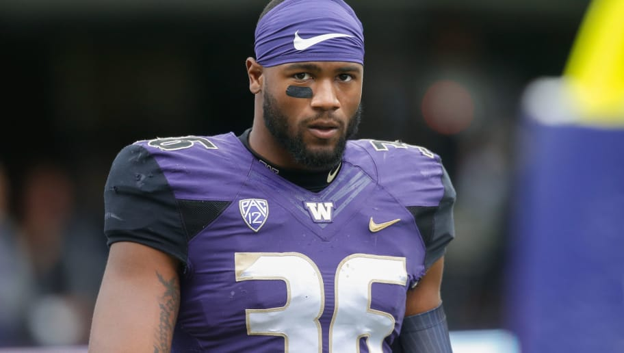 SEATTLE, WA - SEPTEMBER 09:  Linebacker Azeem Victor #36 of the Washington Huskies looks on prior to the game against the Montana Grizzlies at Husky Stadium on September 9, 2017 in Seattle, Washington.  (Photo by Otto Greule Jr/Getty Images)