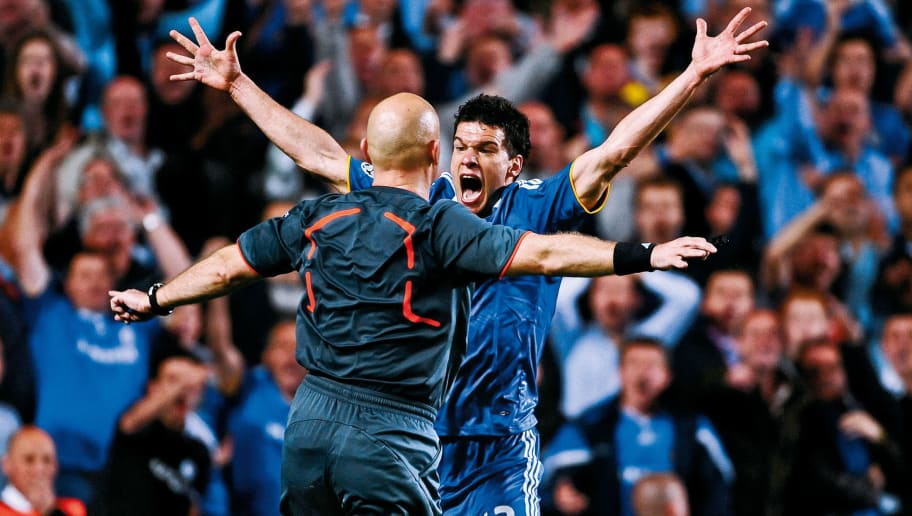 Chelsea player Michael Ballack appeals in vain for a penalty right in the face of referee Tom Henning Ovrebo during the Chelsea versus Barcelona Champions League semi-final 2nd leg match at Stamford Bridge on May 6th 2009 in London (Photo by Tom Jenkins/Getty Images). An image from the book 'In The Moment' published June 2012