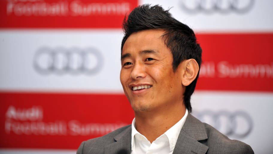 Indian former football team captain Bhaichung Bhutia speaks at the Audi football summit press conference in New Delhi on January 9, 2012. Bayern Muenchen will play against Indian national team tomorrow in a friendly match which is also the official farewell match for Indian former football team captain Bhaichung Bhutia. AFP PHOTO / SAJJAD HUSSAIN (Photo credit should read SAJJAD HUSSAIN/AFP/Getty Images)