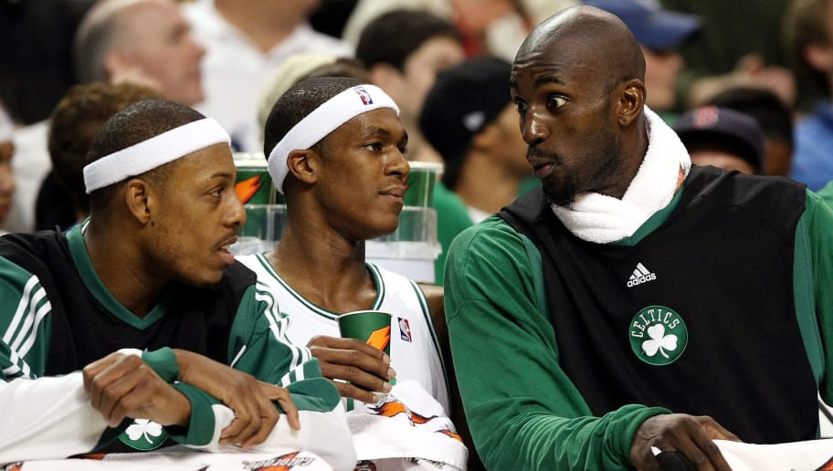 BOSTON - DECEMBER 03: Kevin Garnett #5(left) of the Boston Celtics talks with teammates Paul Pierce #34 and Rajon Rondo #9 late in the fourth quarter against the Indiana Pacers on December 3, 2008 at TD Banknorth Garden in Boston, Massachusetts. The Celtics defeated the Pacers 114-96. NOTE TO USER: User expressly acknowledges and agrees that, by downloading and or using this Photograph, user is consenting to the terms and conditions of the Getty Images License Agreement. (Photo by Elsa/Getty Images)