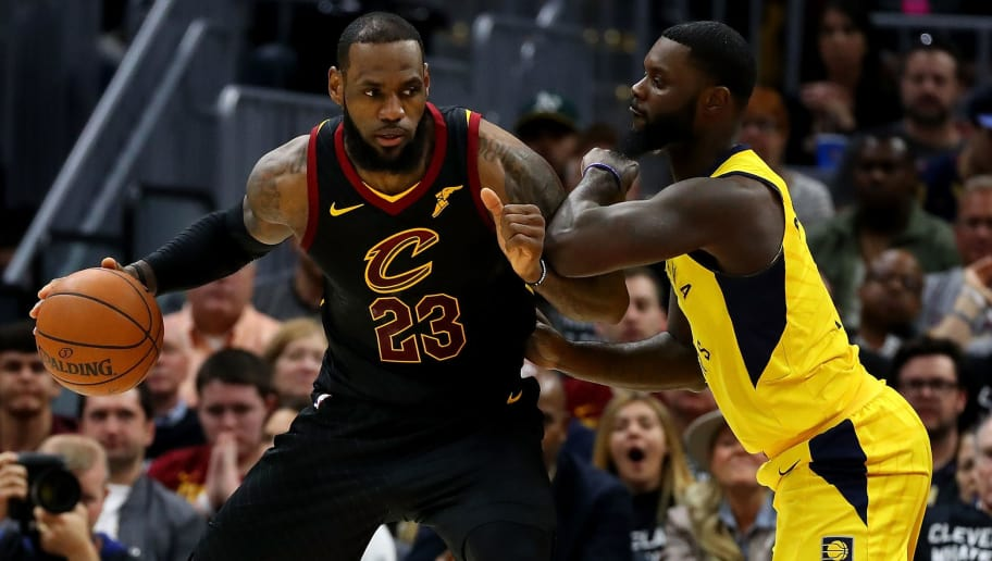 CLEVELAND, OH - APRIL 29: LeBron James #23 of the Cleveland Cavaliers tries to get around Lance Stephenson #1 of the Indiana Pacers during the first half in Game Seven of the Eastern Conference Quarterfinals during the 2018 NBA Playoffs at Quicken Loans Arena on April 29, 2018 in Cleveland, Ohio. NOTE TO USER: User expressly acknowledges and agrees that, by downloading and or using this photograph, User is consenting to the terms and conditions of the Getty Images License Agreement. (Photo by Gregory Shamus/Getty Images)