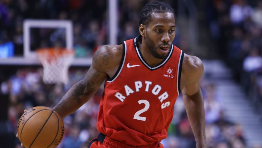 TORONTO, ON - DECEMBER 19:  Kawhi Leonard #2 of the Toronto Raptors dribbles the ball during the second half of an NBA game against the Indiana Pacers at Scotiabank Arena on December 19, 2018 in Toronto, Canada.  NOTE TO USER: User expressly acknowledges and agrees that, by downloading and or using this photograph, User is consenting to the terms and conditions of the Getty Images License Agreement.  (Photo by Vaughn Ridley/Getty Images)