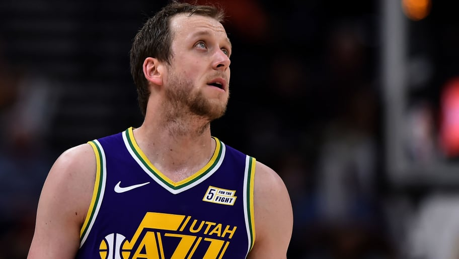 SALT LAKE CITY, UT - NOVEMBER 26: Joe Ingles #2 of the Utah Jazz looks on in the second half of a NBA game against the Utah Jazz at Vivint Smart Home Arena on November 26, 2018 in Salt Lake City, Utah. NOTE TO USER: User expressly acknowledges and agrees that, by downloading and or using this photograph, User is consenting to the terms and conditions of the Getty Images License Agreement. (Photo by Gene Sweeney Jr./Getty Images)