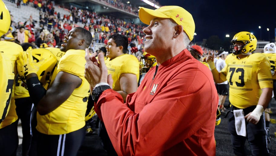 COLLEGE PARK, MD - OCTOBER 28:  Head Coach DJ Durkin of the Maryland Terrapins celebrates after a victory against the Indiana Hoosiers  on October 28, 2017 in College Park, Maryland.  (Photo by G Fiume/Maryland Terrapins/Getty Images)