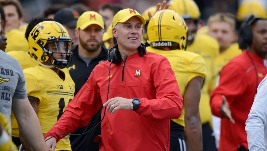 COLLEGE PARK, MD - OCTOBER 28:  Head Coach DJ Durkin of the Maryland Terrapins watches the game against the Indiana Hoosiers  on October 28, 2017 in College Park, Maryland.  (Photo by G Fiume/Maryland Terrapins/Getty Images)