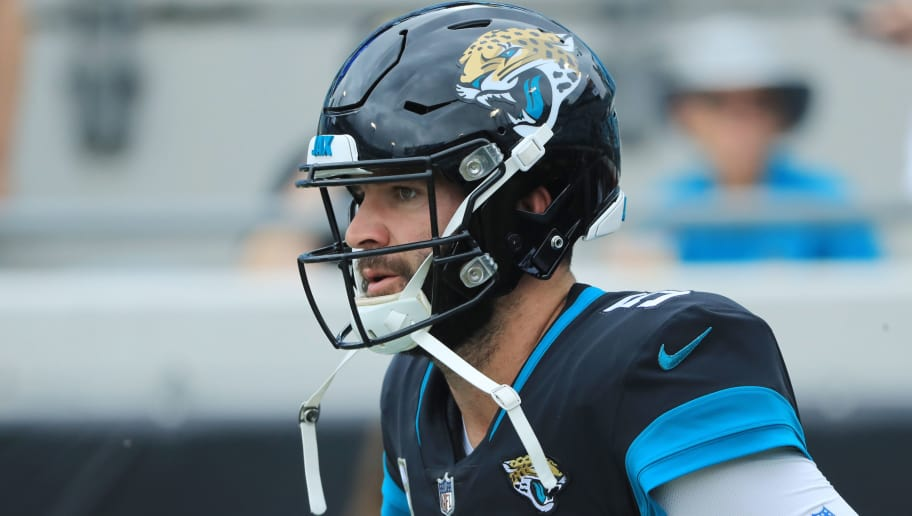 JACKSONVILLE, FLORIDA - DECEMBER 02:  Blake Bortles #5 of the Jacksonville Jaguars warms up on the field prior to the start of their game against the Indianapolis Colts at TIAA Bank Field on December 02, 2018 in Jacksonville, Florida. (Photo by Sam Greenwood/Getty Images)