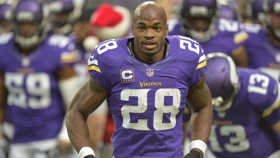 MINNEAPOLIS, MN - DECEMBER 18: Adrian Peterson #28 of the Minnesota Vikings runs off the field after warmups prior to an NFL game against the Indianapolis Colts at U.S. Bank Stadium on December 18, 2016 in Minneapolis, Minnesota. (Photo by Tom Dahlin/Getty Images)