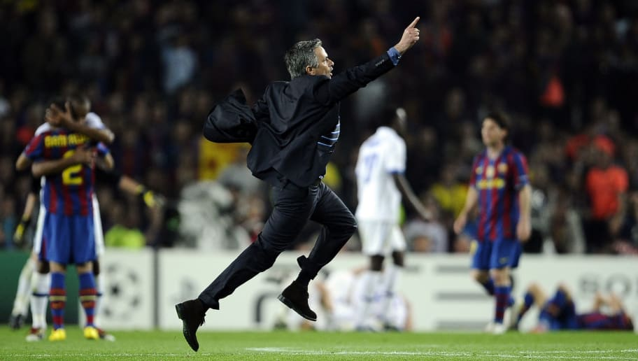 Inter Milan's Portuguese  coach Jose Mourinho celebrates after winning the UEFA Champions League semi-final second leg football match Barcelona vs Inter Milan on April 28, 2010 at the Camp Nou stadium in Barcelona. Milan reached the Champions League final beating Barcelona 3-2 on aggregate in their semi-final despite losing the second leg 1-0.  AFP PHOTO / FILIPPO MONTEFORTE (Photo credit should read FILIPPO MONTEFORTE/AFP/Getty Images)