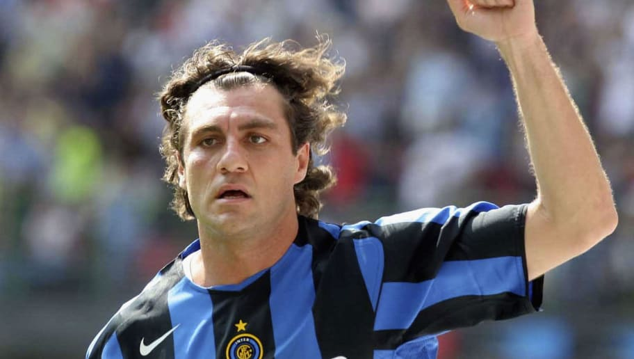 MILAN, ITALY - MAY 1: Christian Vieri of Inter Milan celebrates scoring their second goal during the Serie A match between Inter Milan and Siena at the Giuseppe Meazza San Siro stadium on May 1, 2005 in Milan, Italy. (Photo by New Press/Getty Images)