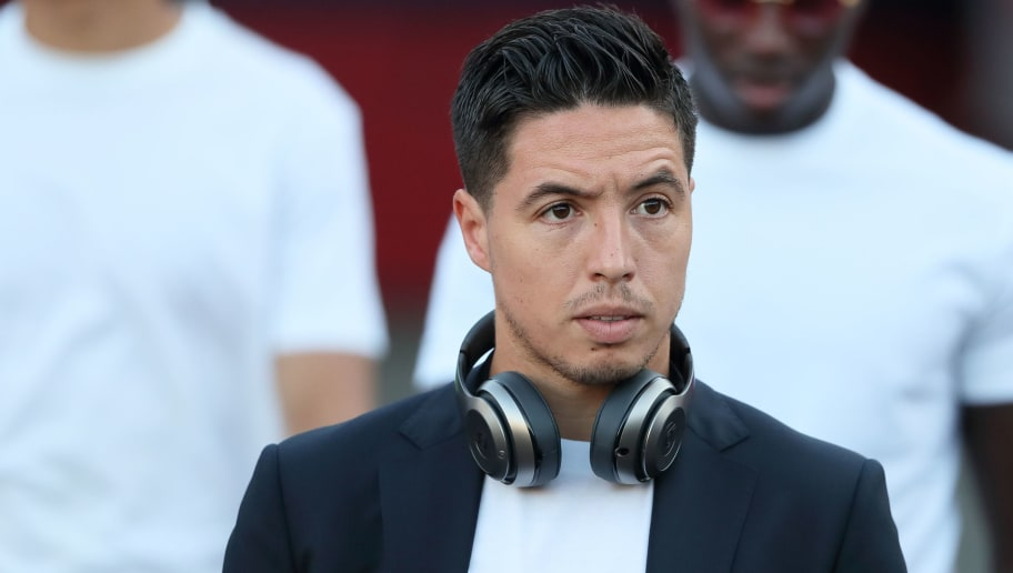 LOS ANGELES, CA - JULY 26: Samir Nasri of Manchester City arrives prior to the International Champions Cup 2017 match between Manchester City and Real Madrid at Los Angeles Memorial Coliseum on July 26, 2017 in Los Angeles, California. (Photo by Matthew Ashton - AMA/Getty Images)
