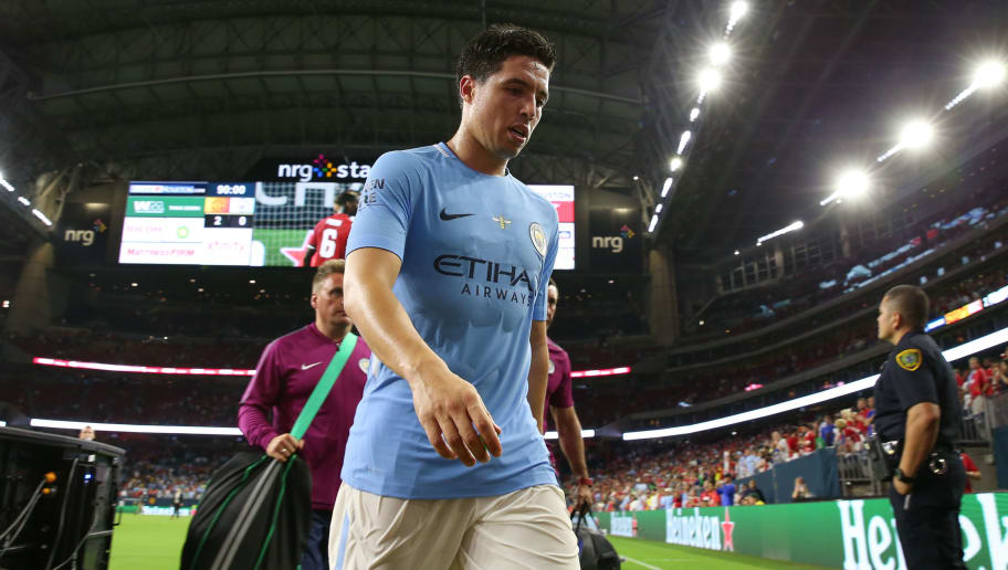 HOUSTON, TX - JULY 20: Samir Nasri of Manchester City walks off dejected at full time during the International Champions Cup 2017 match between Manchester United and Manchester City at NRG Stadium on July 20, 2017 in Houston, Texas. (Photo by Robbie Jay Barratt - AMA/Getty Images)