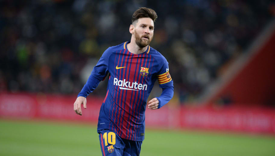 JOHANNESBURG, SOUTH AFRICA - MAY 16:    Barcelona's Argentine soccer star Lionel Messi  during the  International Club Friendly match between Mamelodi Sundowns and Barcelona FC at FNB Stadium on May 16, 2018 in Johannesburg, South Africa. (Photo by Lefty Shivambu/Gallo Images/Getty Images)