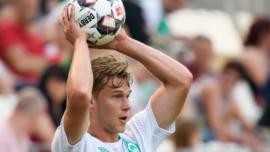 ESSEN, GERMANY - JULY 21: Felix Beijmo of Werder Bremen controls the ball during the Interwetten Cup match between Rot-Weiss Essen and SV Werder Bremen at Stadion Essen on July 21, 2018 in Essen, Germany. (Photo by TF-Images/Getty Images)