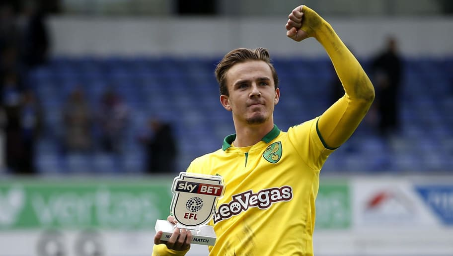 IPSWICH, ENGLAND - OCTOBER 22:  James Maddison of Norwich City celebrates victory after the Sky Bet Championship match between Ipswich Town and Norwich City at Portman Road on October 22, 2017 in Ipswich, England. (Photo by Stephen Pond/Getty Images)
