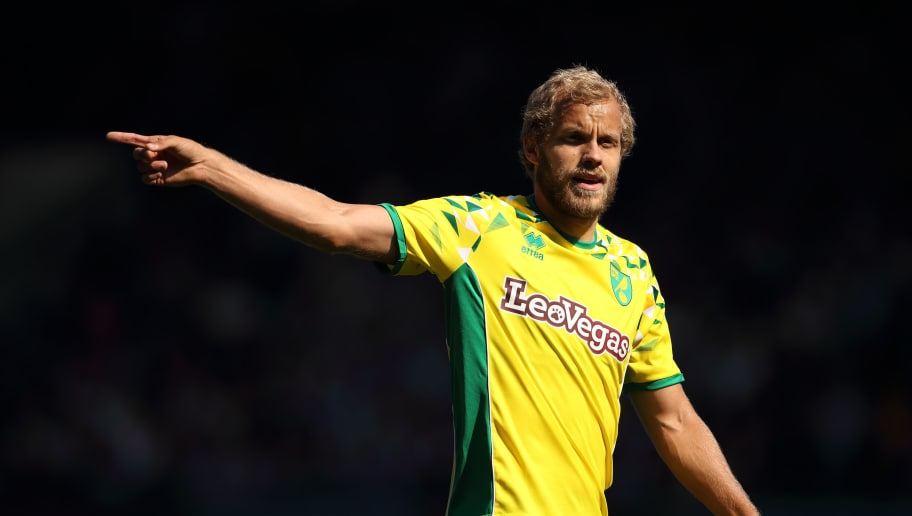 IPSWICH, ENGLAND - SEPTEMBER 02: Teemu Pukki of Norwich City of Norwich City during the Sky Bet Championship match between Ipswich Town and Norwich City  at Portman Road on September 2, 2018 in Ipswich, England. (Photo by Matthew Ashton - AMA/Getty Images)