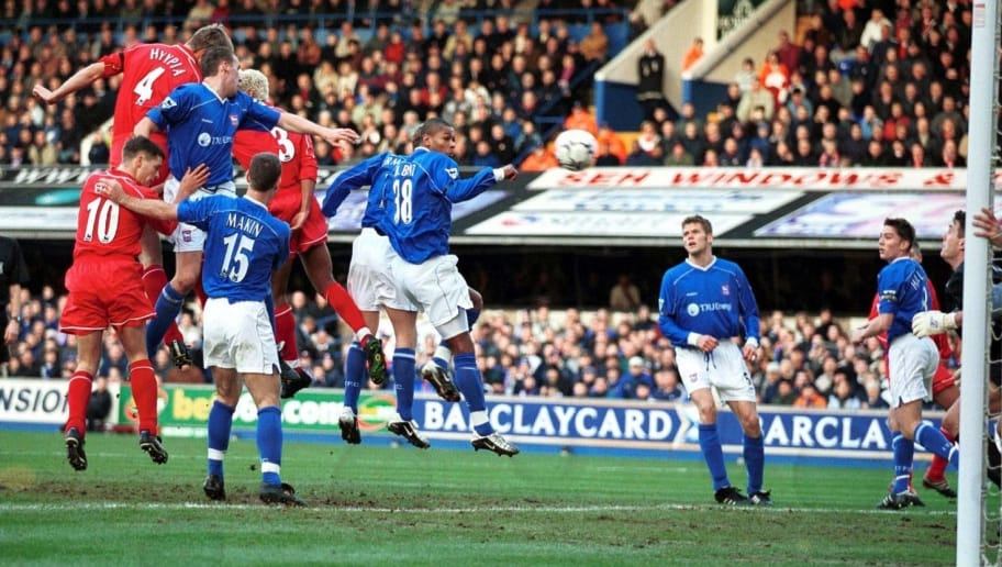 9 Feb 2002:  Sami Hyypia of Liverpool heads to score during the FA Barclaycard Premiership match between Ipswich Town and Liverpool at Portman Road, Ipswich.  Mandatory Credit: Mark Thompson/Getty Images
