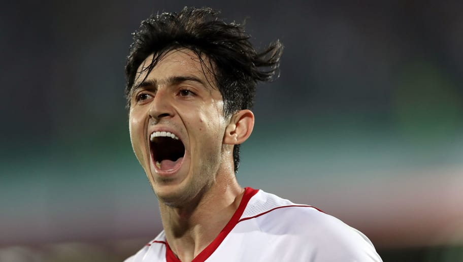TEHRAN, IRAN - SEPTEMBER 05:  Sardar Azmoun celebrates after his first goal during FIFA 2018 World Cup Qualifier match between Iran v Syria on September 5, 2017 in Tehran, Iran.  (Photo by Amin Mohammad Jamali/Getty Images)