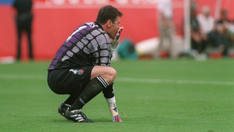 4 JUL 1994:  GOALKEEPER PAT BONNER OF IRELAND SITS ALONE AND DEJECTED AFTER HIS DREADFUL MISTAKE LED TO HOLLAND SCORING ITS SECOND GOAL DURING THE 1994 WORLD CUP GAME AT THE CITRUS BOWL IN ORLANDO, FLORIDA.  Mandatory Credit: Ben Radford/ALLSPORT