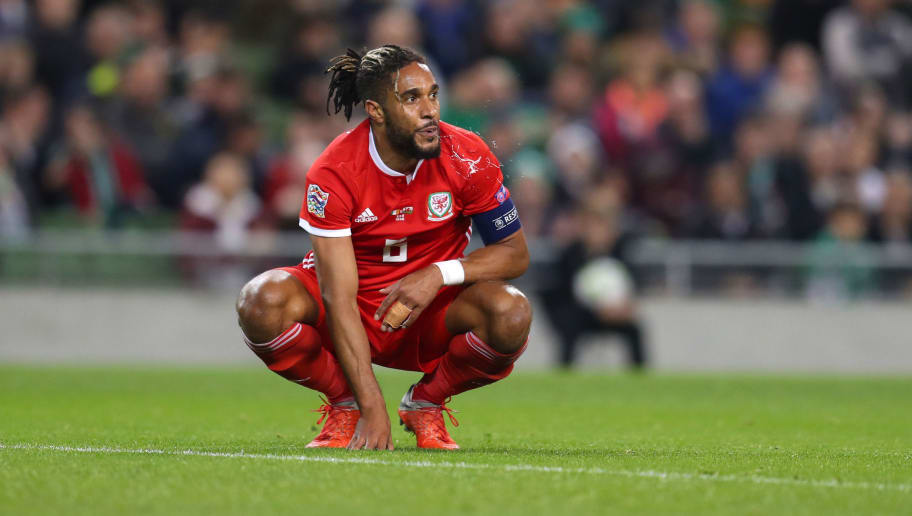 DUBLIN, IRELAND - OCTOBER 16: Ashley Williams of Wales during the UEFA Nations League B group four match between Ireland and Wales at Aviva Stadium on October 16, 2018 in Dublin, Ireland. (Photo by Catherine Ivill/Getty Images)