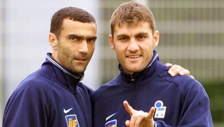 SENLIS, FRANCE:  Italian players Giuseppe Bergomi and Christian Vieri (R) pose for photographer during a training session at the Italian base in Senlis, near Paris 02 July. Italy will play its quarter-finals match vs France, 03 July at the Stade de France in Saint Denis, north of Paris (ELECTRONIC IMAGE) GERARD JULIEN (Photo credit should read GERARD JULIEN/AFP/Getty Images)