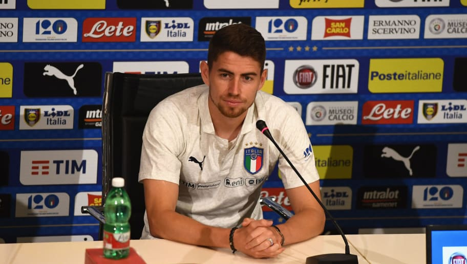 FLORENCE, ITALY - MAY 30:  Jorginho of Italy speaks with the media during a press conference at Centro Tecnico Federale di Coverciano on May 30, 2018 in Florence, Italy.  (Photo by Claudio Villa/Getty Images)