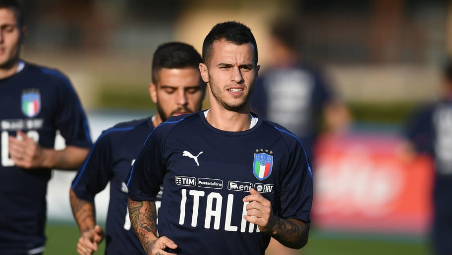 FLORENCE, ITALY - OCTOBER 12:  Sebastian Giovinco of Italy looks on during a Italy training session at Centro Tecnico Federale di Coverciano on October 12, 2018 in Florence, Italy.  (Photo by Claudio Villa/Getty Images)