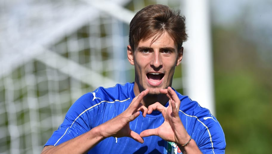 PALMANOVA, ITALY - AUGUST 11:  Matteo Gabbia of Italy U18 celebrates after scoring the goal 1-1 during the international friendly match between Italy U18 and Slovenia U18 on August 11, 2016 in Codroipo near Palmanova, Italy.  (Photo by Giuseppe Bellini/Getty Images)