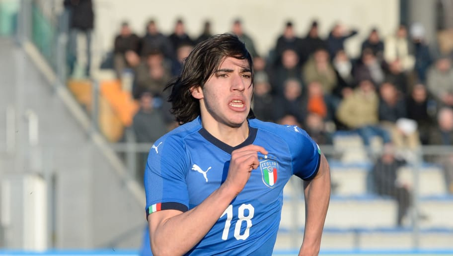 LIGNANO SABBIADORO, ITALY - MARCH 21:  Sandro Tonalii of Italy U19 during the Elite Round U19 match between Italy and Greece  on March 21, 2018 in Lignano Sabbiadoro, Italy.  (Photo by Dino Panato/Getty Images)