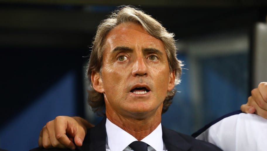 BOLOGNA, ITALY - SEPTEMBER 07:  Head coach of Italy Roberto Mancini of Italy sings the national anthem before the UEFA Nations League A group three match between Italy and Poland at Stadio Renato Dall'Ara on September 7, 2018 in Bologna, Italy.  (Photo by Marco Luzzani/Getty Images)